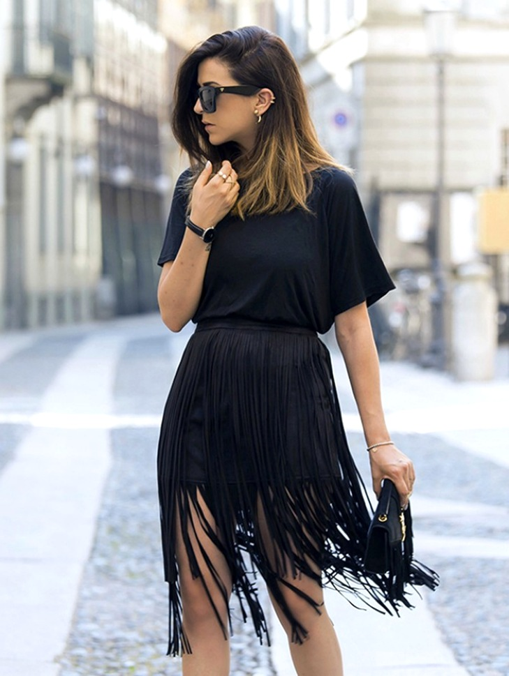 юбка с бахромой