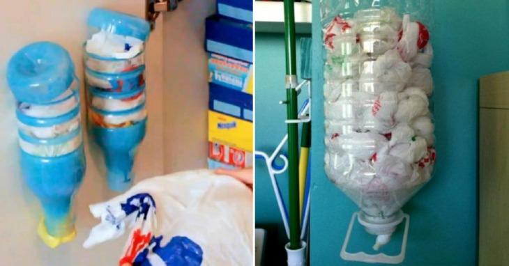 идеи для дома: пластиковая бутылка с пакетами